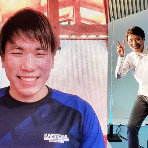 男子競泳 松元克央選手と松岡修造